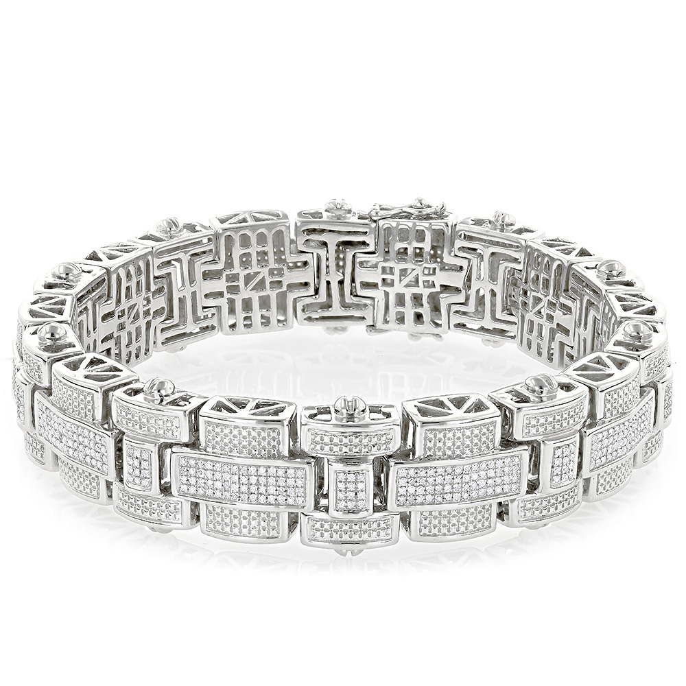 Mens Silver Diamond Bracelet 3.25 ct Main Image