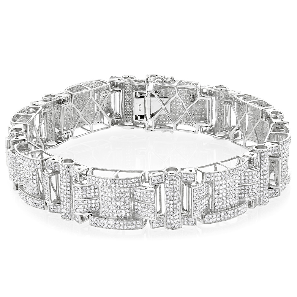 Mens Silver Diamond Bracelet 7.45ct Main Image