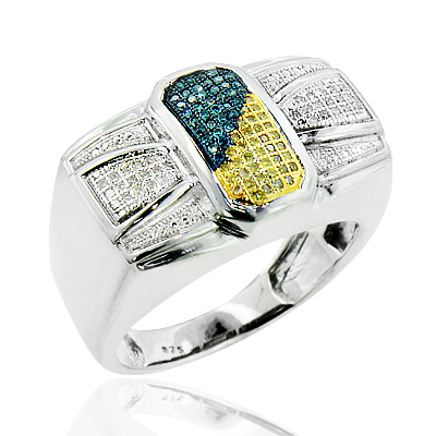 Mens Silver Rings: White Blue Yellow Diamond Ring 0.30ct mens-silver-rings-white-blue-yellow-diamond-ring-030ct_1