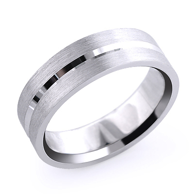 Mens Simple Wedding Band Solid Platinum Main Image