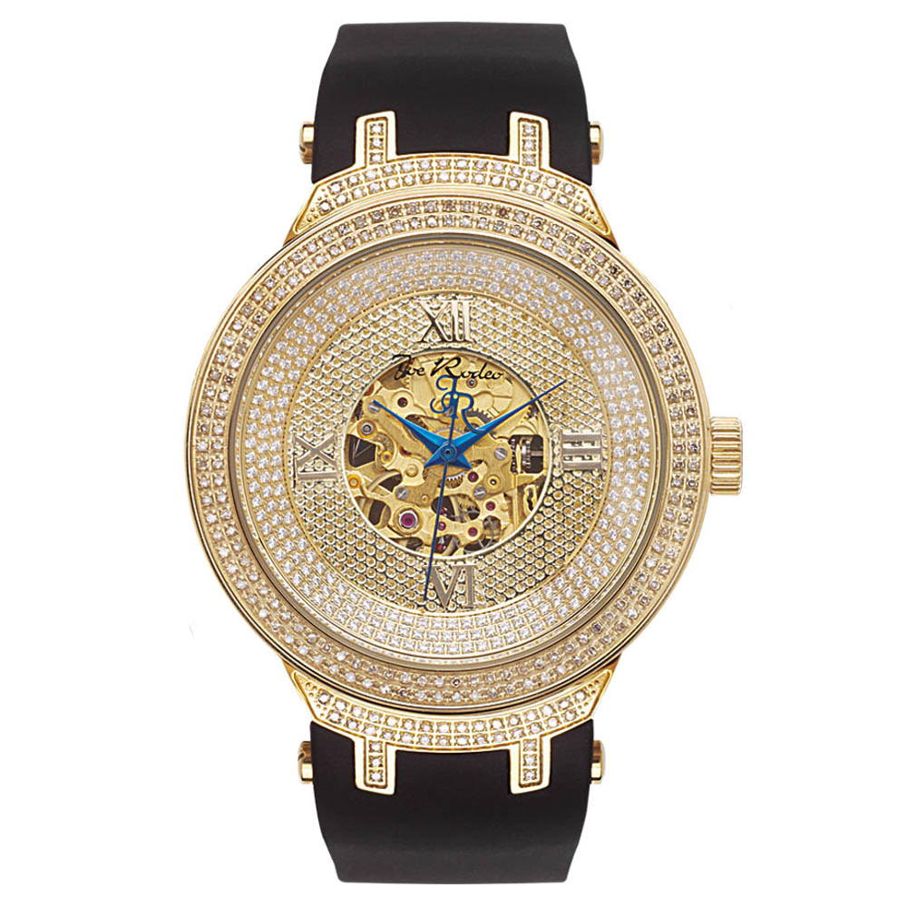 Automatic Mens Skeleton Joe Rodeo Diamond Watch 2.2ct Yellow Main Image