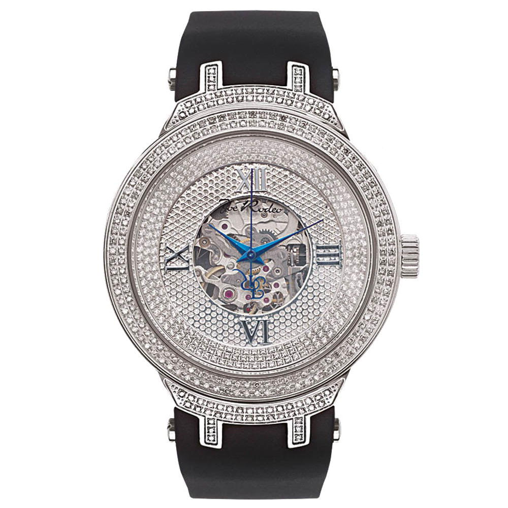 White Mens Skeleton Watches AutomaticJoe Rodeo Diamond Watch 2.20ct Main Image