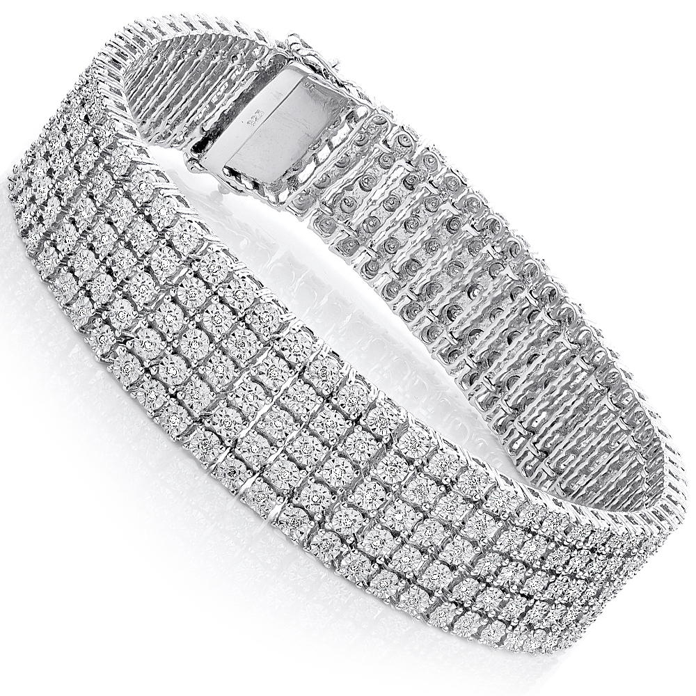 silver chocolate bangles dipped sterling gold cttw in products diamond bangle bracelet mesh