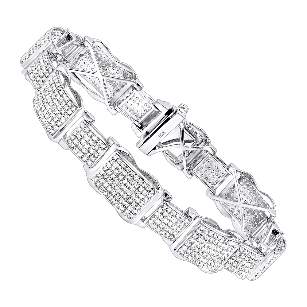 Mens Sterling Silver Diamond Bracelet 4 ct Main Image