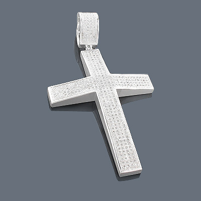 Mens Sterling Silver Diamond Cross Pendant 1.31ct
