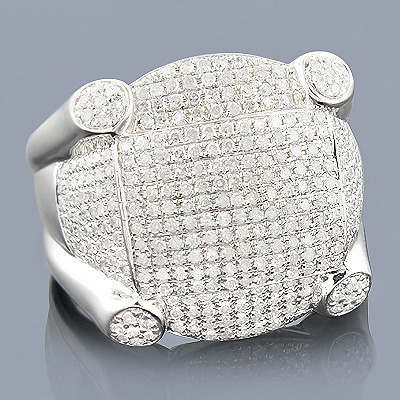 Mens Sterling Silver Diamond Ring 1.73ct