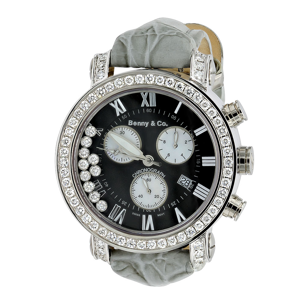 Mens VS Diamond Benny and Co Watch Collection 3ct Grey Swiss Chronograph Main Image