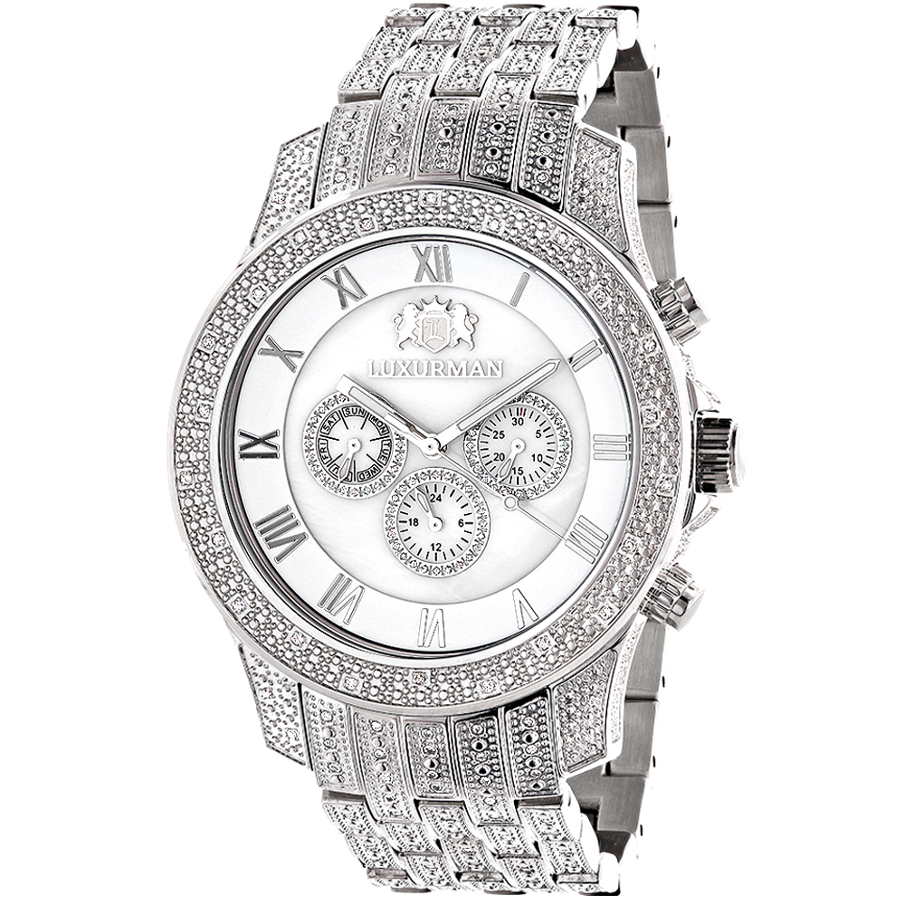 Mens Watches Luxurman Real Diamond Watch 1.25