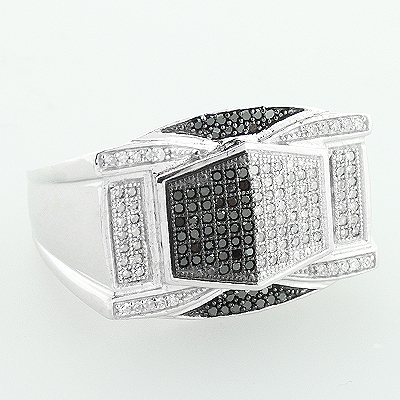 Mens White Black Diamond Ring 0.65ct 10K