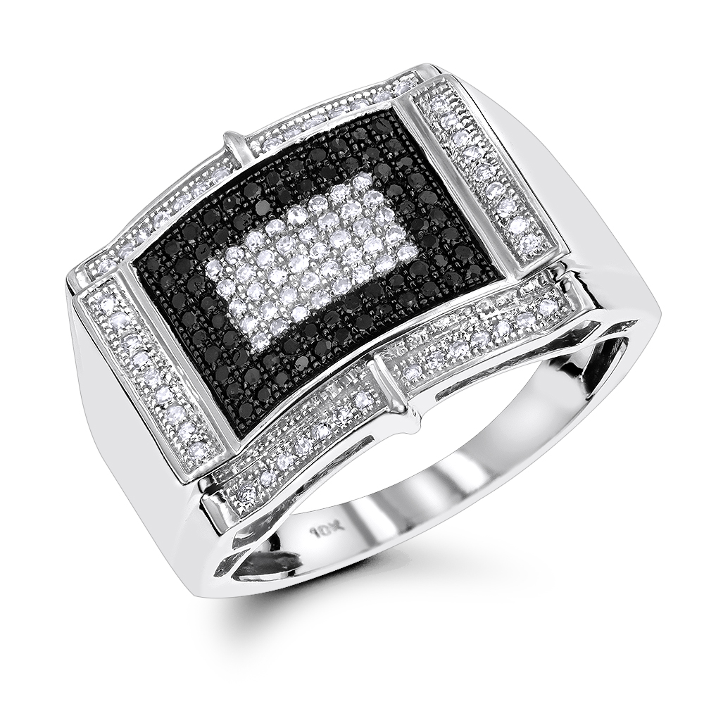 White Black Diamond Ring for Men 0.65ct 10K Gold White Image