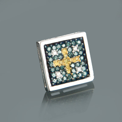 Mens White Blue Yellow Diamond Earring 0.29ct 14K Gold Main Image
