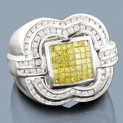 Mens White Yellow Diamond Ring 14K 2.50ct Main Image