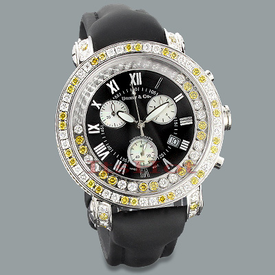 Mens White Yellow Diamond Watch by Benny and Co 7.50ct New Arrival  Main Image