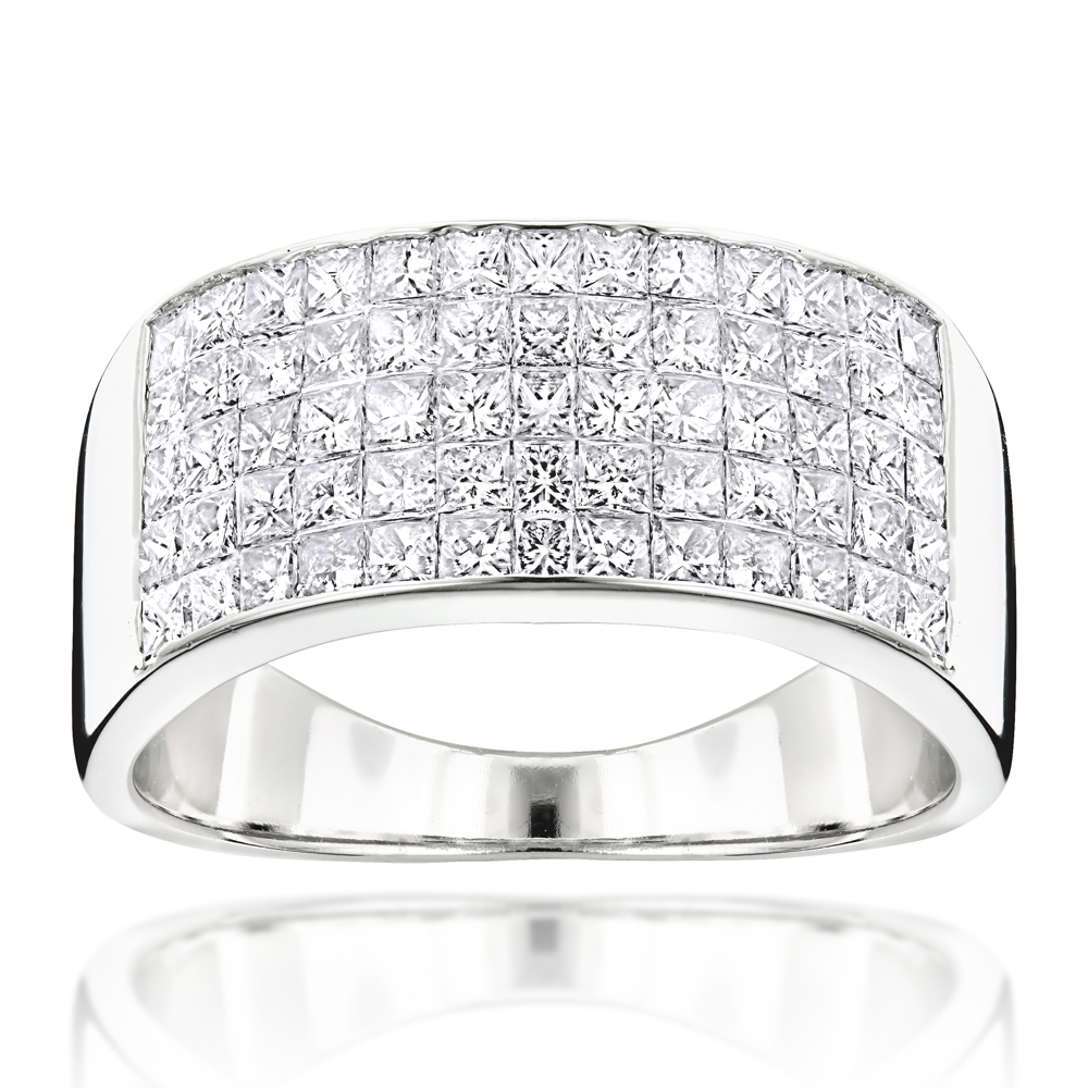 Mens Wide Wedding Band with Princess Cut Diamonds 2.11ct 14K Gold White Image