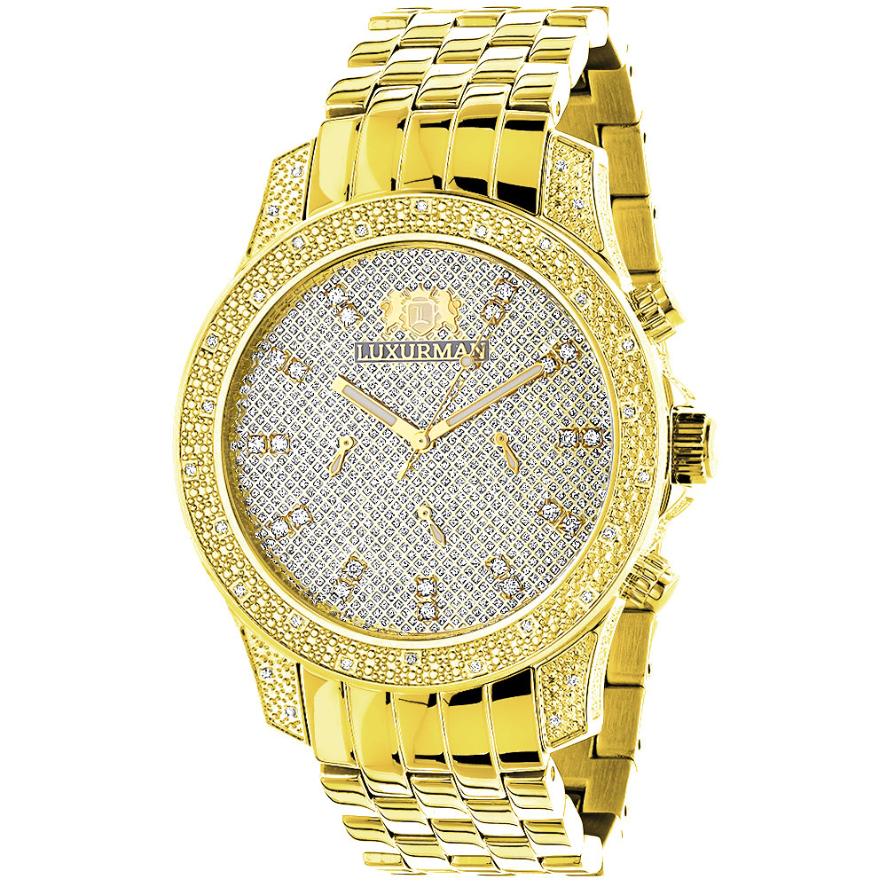 Mens Yellow Gold Tone Watch with Diamonds 0.50ct Luxurman Main Image