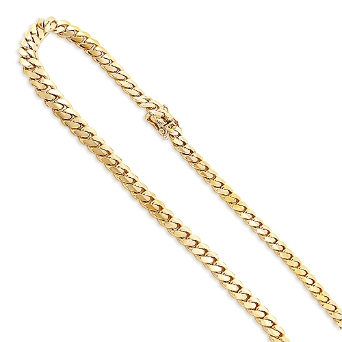 Mens Miami Yellow Gold Cuban Link Chain by Luxurman 14K 8mm 22-40in Main Image
