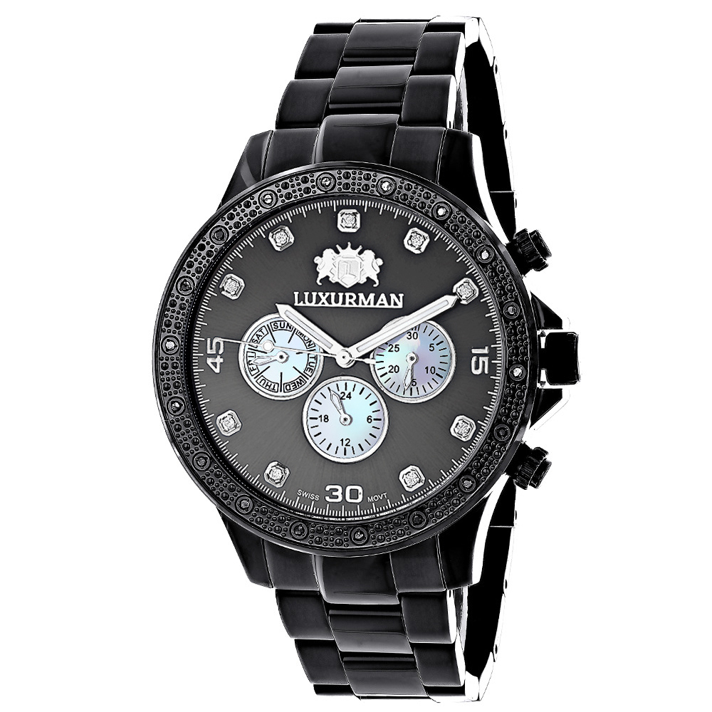 Midsize Mens Black Diamond Watch by Luxurman 0.25ct Main Image