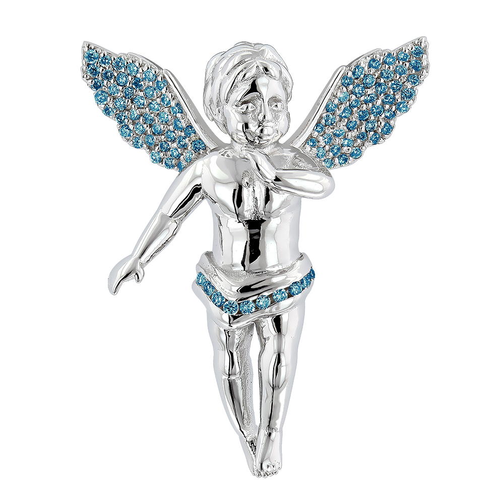 Mini Angels with Wings Charms: Blue Diamond Angel Pendant 0.7ct 14K Gold