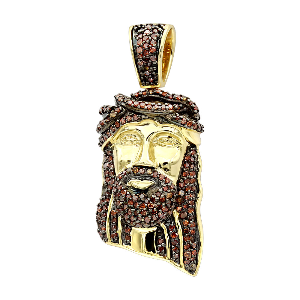Mini Diamond Jesus Face Pendant Solid 10K Gold 1/2 Carat Red  Diamonds