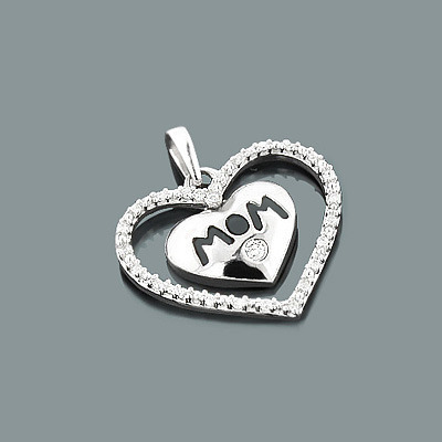 Mom Jewelry: Gold Diamond Heart Pendant 10K Gold 0.12ct Main Image