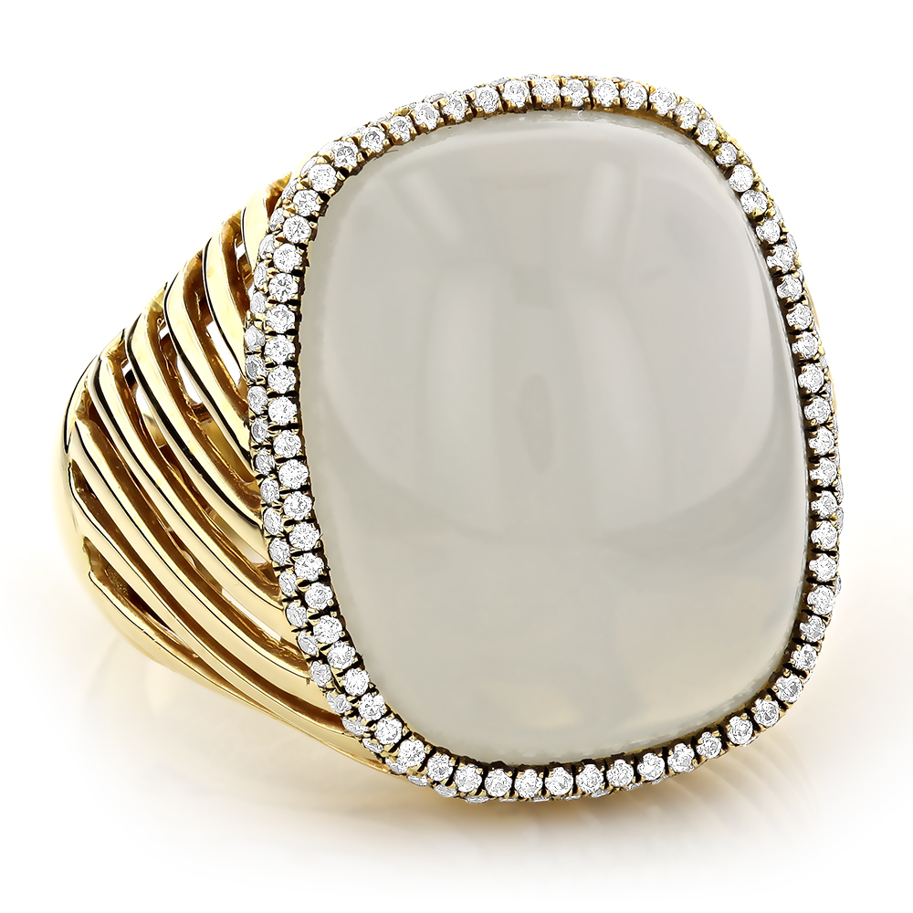 Moonstone Jewelry 14K Diamond White Moonstone Ring 17.2 Yellow Image