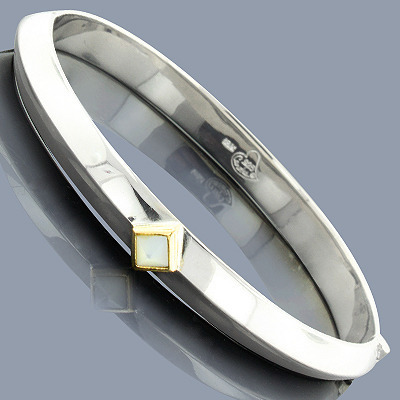 Mother Of Pearl 18K Sterling Silver Bangle Bracelet Main Image