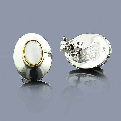 Mother of Pearl 18K Sterling Silver Earrings Main Image