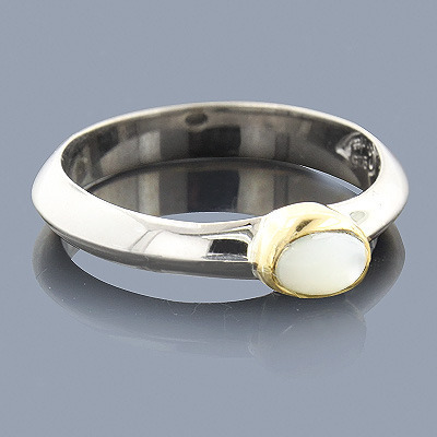 Thin Mother Of Pearl 18K Sterling Silver Ring Main Image