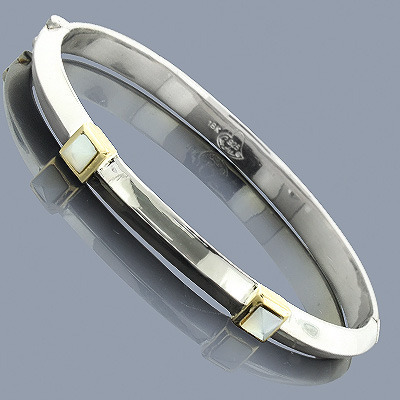 Mother Of Pearl Bangle Bracelet 18K Sterling Silver