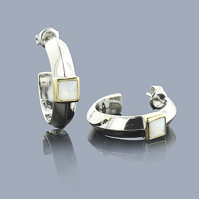 Mother of Pearl Earrings in Sterling Silver 18K Gold main