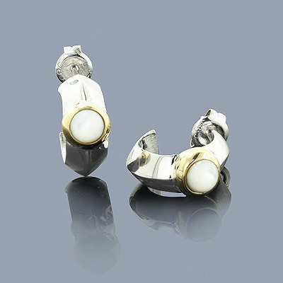 Mother of Pearl Earrings in Sterling Silver 18K Gold Main Image