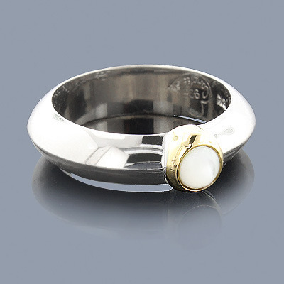 Mother Of Pearl Ring in Sterling Silver 18K Main Image