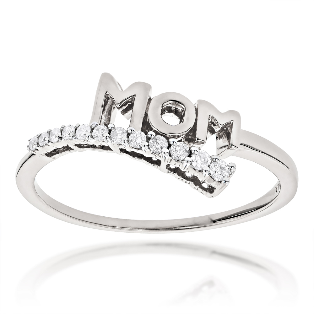 Ultra Thin Mothers Day Gifts Journey Diamond MOM Ring .13ct White Image