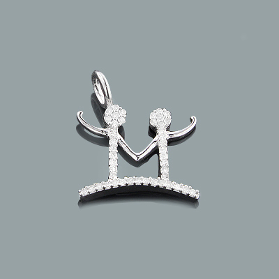 Mothers Day Gifts: Small Diamond M Pendant 0.16ct 10K Gold Charm Main Image