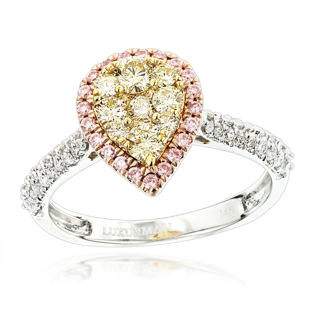 Natural White Pink Yellow Diamond Engagement Ring Pear Shape 0.9ct 14K Gold White Image