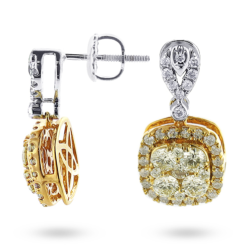 Natural Yellow Diamond Dangle Earrings 1.65ct 14K Gold Main Image