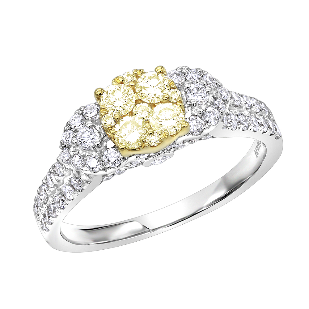 Natural White and Yellow Diamond Engagement Ring 1.2ct 14K Gold White Image