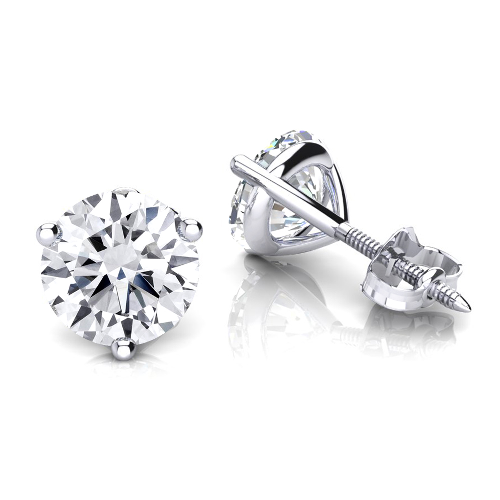 One Carat 14K Gold Solitaire Round Diamond Martini Stud Earrings White Image