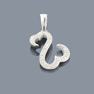 Double Heart Pendant in Sterling Silver 0.15ct Diamonds