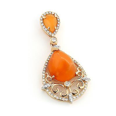 Orange Aventurine Diamond Pendant 5.5ct 14K Gold Main Image