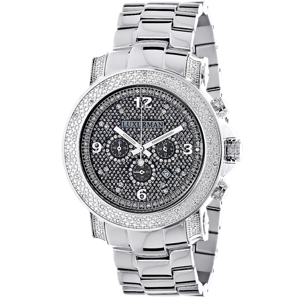 Oversized Diamond Watches: Luxurman Mens Diamond Watch 0.75ct Main Image
