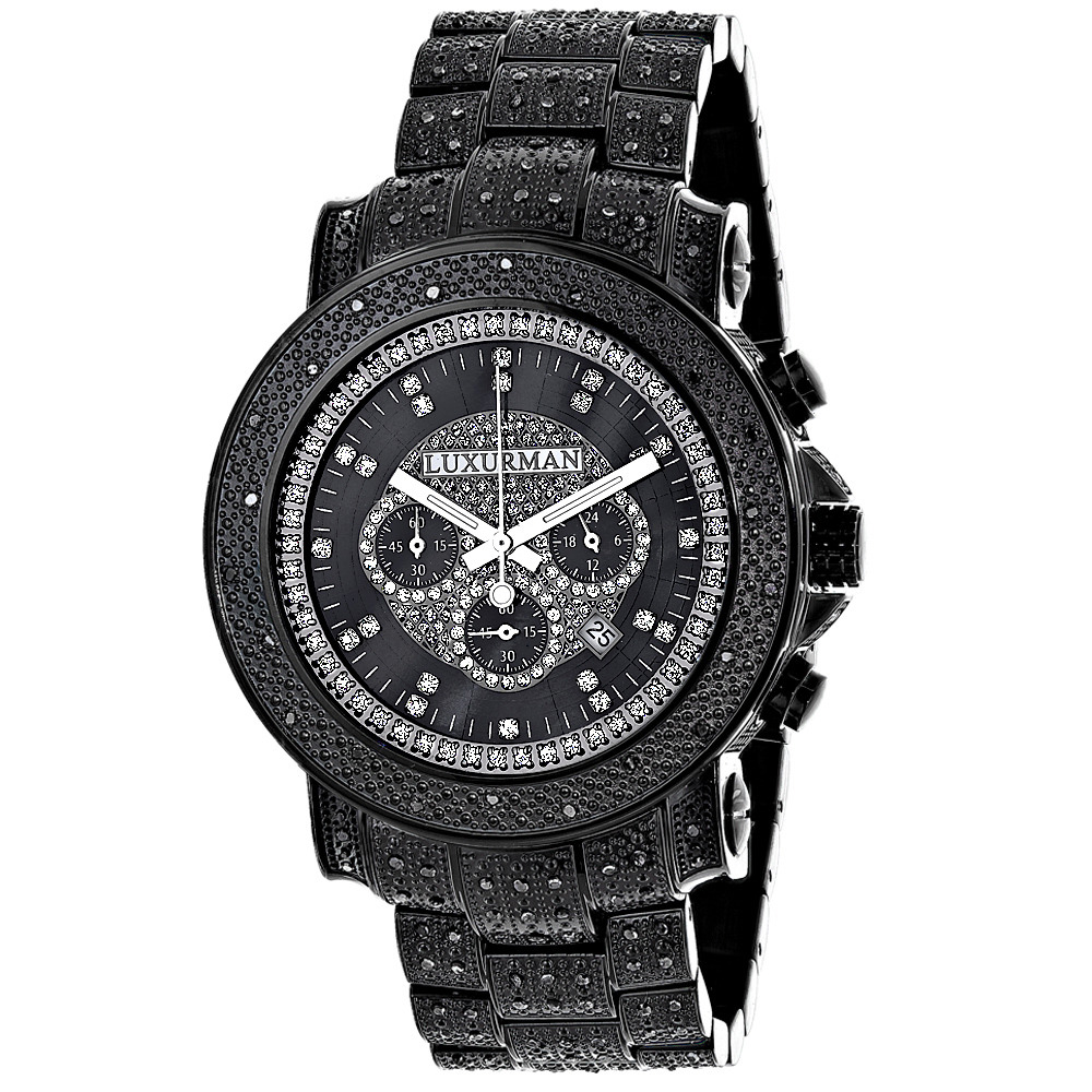 Oversized Iced Out Black Diamond Mens Watch by Luxurman 2ct Fully Paved Main Image
