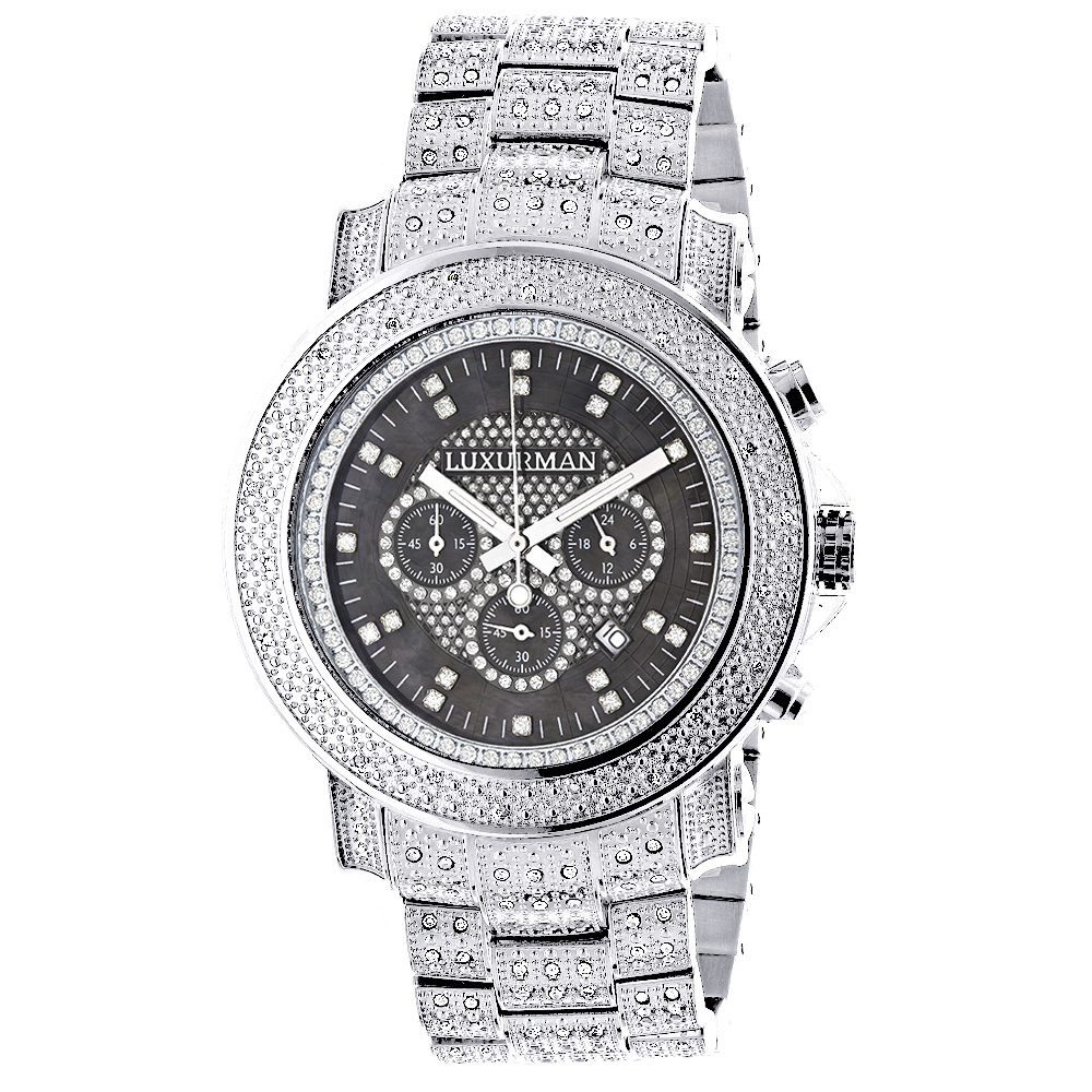 Oversized Iced Out Mens Diamond Luxurman Watch 2ct Escalade