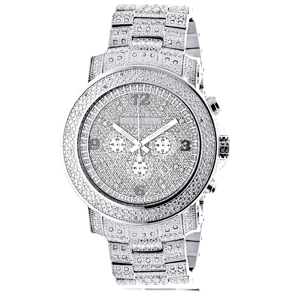Oversized Iced Out Mens Diamond Watch by Luxurman White Gold Plated 2ct Main Image