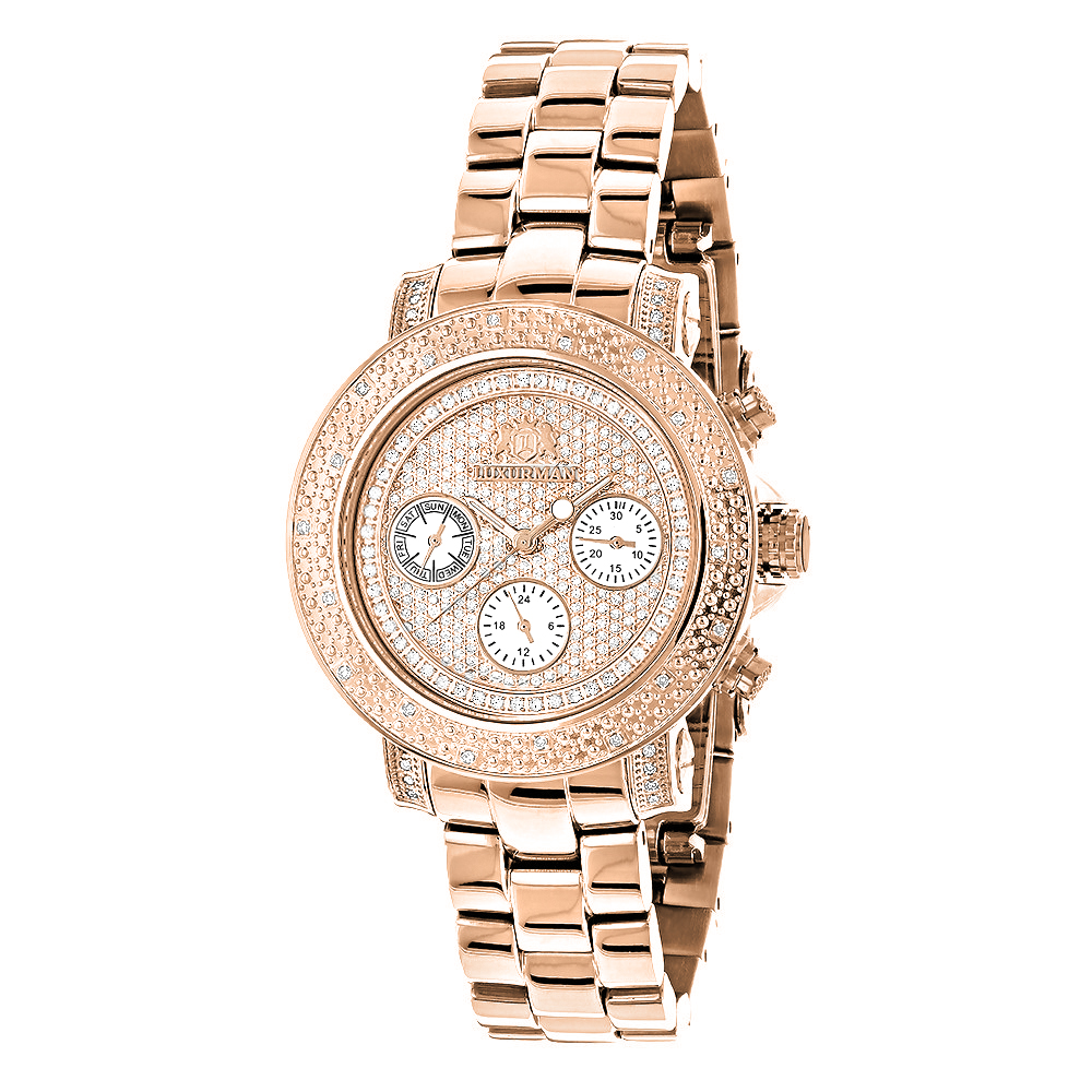 Oversized Ladies Diamond Watch Rose Gold Plated Swiss Mvt Luxurman Montana Main Image