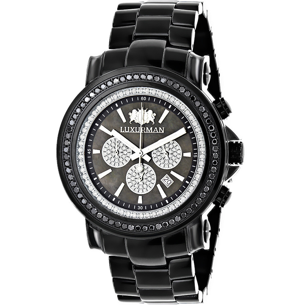 Oversized Mens Black Diamond Watch by Luxurman 3ct Chronograph Escalade Main Image