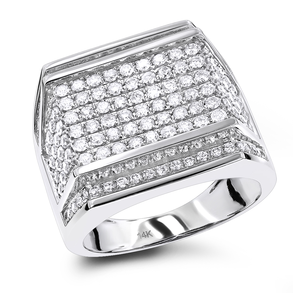 Oversized Mens Diamond Ring 2.5 ctw 14K Gold White Image