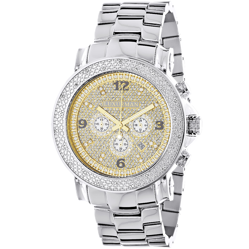 Oversized Men's Diamond Watch 0.25ct Luxurman Escalade Two Tone Chronograph Main Image