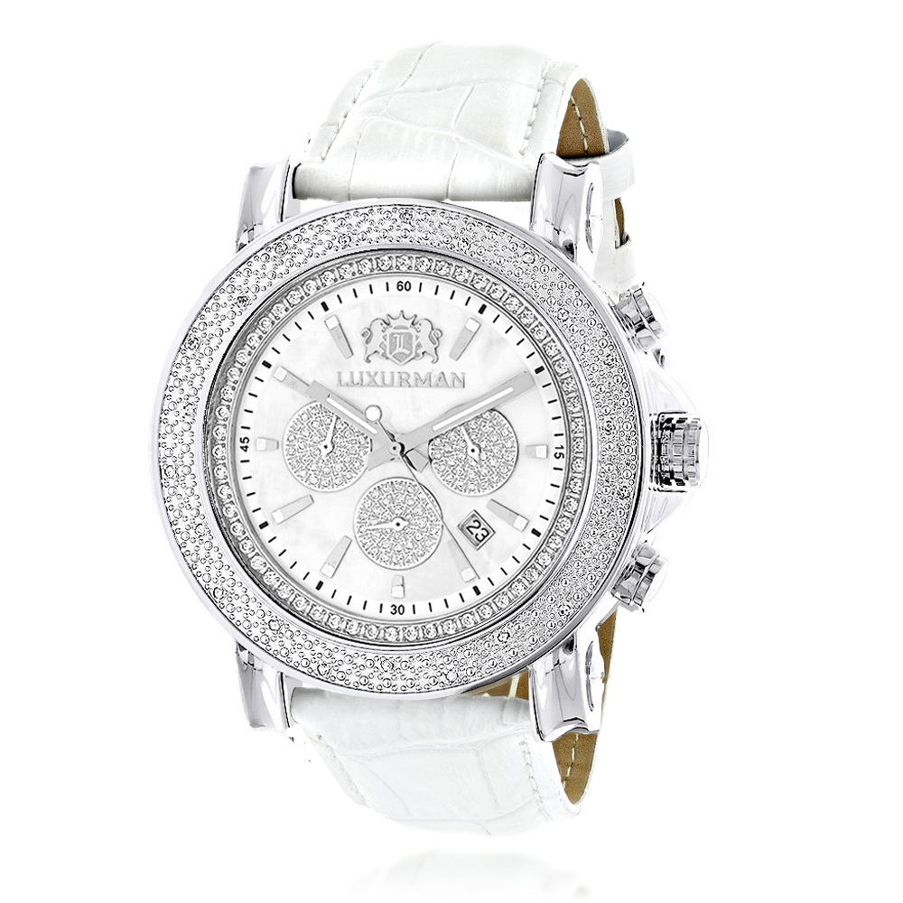 Oversized Mens Diamond Watch 0.25ct White Mop Luxurman Escalade Chronograph