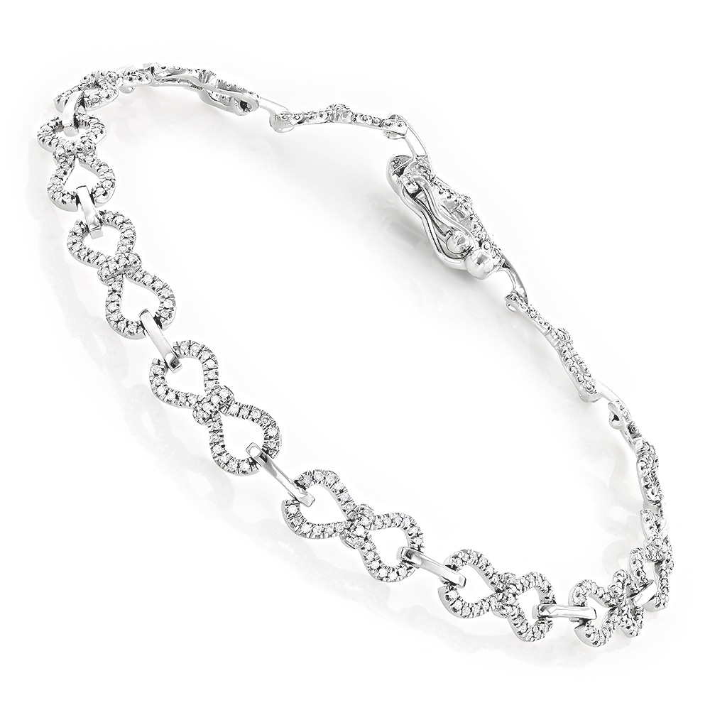 Pave Bracelets 14K Gold Ladies Diamond Bracelet 0.5ct White Image